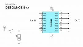 Debounce 8-40 - komfort Tastenentprellung IC - Bild vergrößern